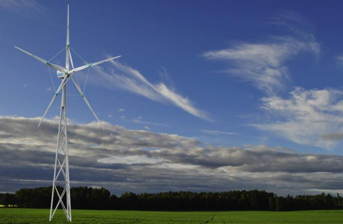 A large Norstek wind turbine installed in a landscape (3D model).
